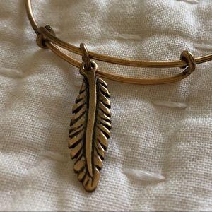 Alex and Ani Feather Charm Gold Wrap Bracelet